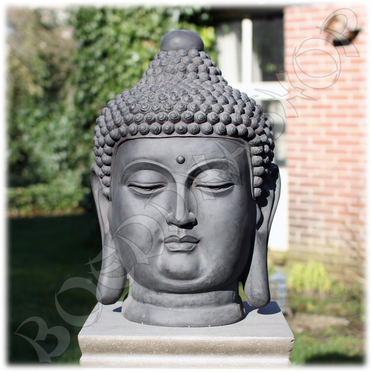 Tuinbeeld Boeddha hoofd clayfibre groot donker