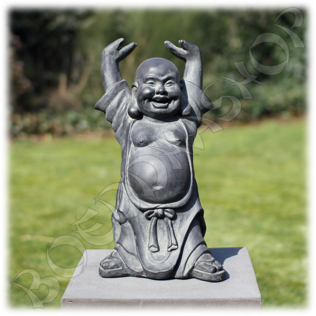 Happy Boeddha Hotei donkergrijs clayfibre
