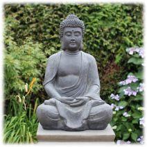 Tuinbeeld meditatie Boeddha donker