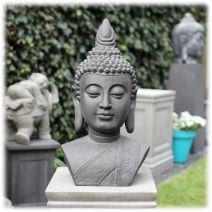 Tuinbeeld Boeddha buste L donker