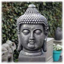 Tuinbeeld Boeddha hoofd clayfibre groot zilver