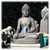 Boeddha tuinbeeld bhumisparsha XL donker